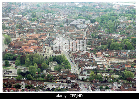 oblique aerial view of Beverley town centre looking south, with north bar in foreground and St Mary's in middle - Stock Photo