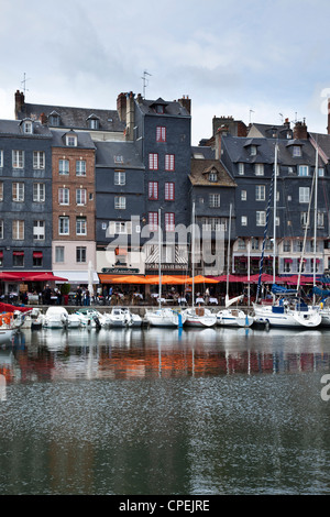 Boats and Yachts moored in the Vieux Bassin (Old Dock) at Honfleur, Normandy, France. - Stock Photo