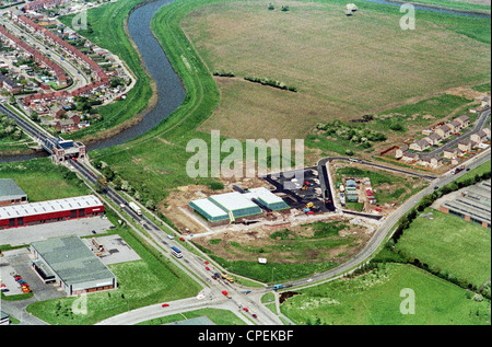 Oblique aerial view of north Hull showing Sutton Road bridge over the River Hull with residential and industrial - Stock Photo