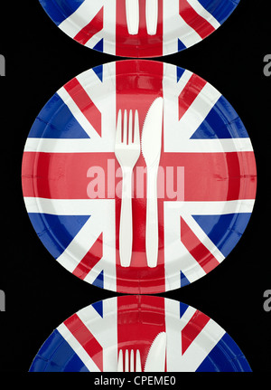 Union Jack Paper Plates with cutlery on a black background - Stock Photo