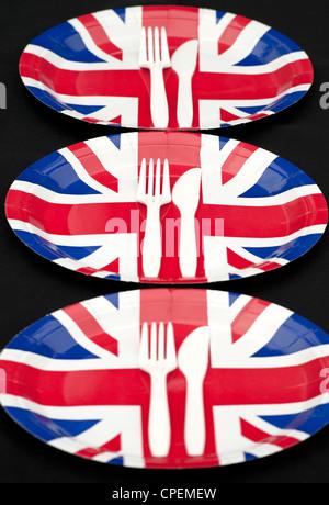 ... Union Jack Paper Plates with cutlery on a black background - Stock Photo  sc 1 st  Alamy & Union Jack Plate with Plastic Cutlery on black background Stock ...