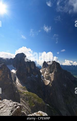 Pale di San Martino Dolomites against the sun, Trentino Italy - Stock Photo