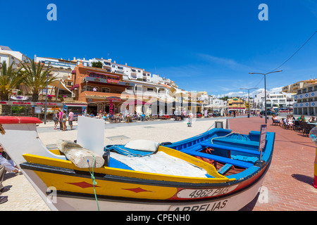 View towards the resort centre and beach in Carvoeiro, Algarve, Portugal - Stock Photo