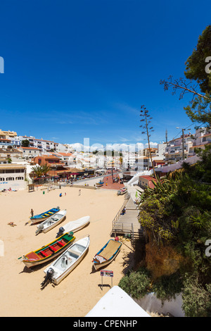 View over the resort centre and beach in Carvoeiro, Algarve, Portugal - Stock Photo