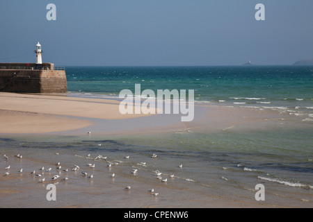 View out to sea from the harbour, St Ives, Cornwall, England, UK. Seagulls on the beach. - Stock Photo