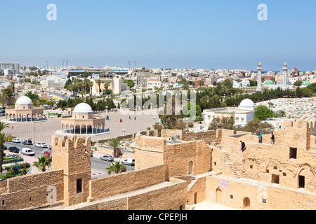 Aerial view of streets at Monastir city, Tunisia. Mausoleum of Habib Bourguiba, cemetery and Ribat as a fortress. - Stock Photo
