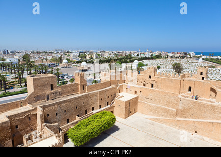 Aerial view of streets at Monastir city, Tunisia. Mausoleum of Habib Bourguiba, cemetery and Ribat as a fortress - Stock Photo