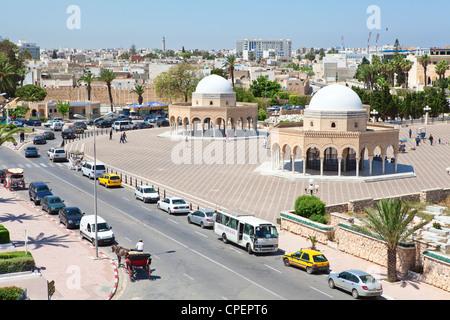Aerial view of streets at Monastir city, Tunisia. Cemetery near Mausoleum of Habib Bourguiba - Stock Photo