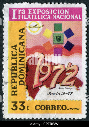 A stamp printed in the Dominican Republic, dedicated First National Philatelic Exhibition, Santo Domingo, circa - Stock Photo