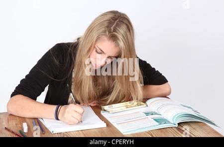 Teenage girl studying. - Stock Photo