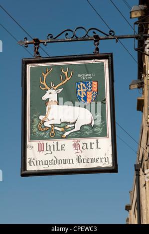 White Hart pub sign, Stow-on-the-Wold, Gloucestershire, England, UK - Stock Photo
