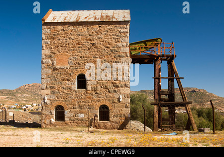 Cornish Engine Pump House of the abandoned copper mine in Okiep, Northern Cape province, South Africa - Stock Photo