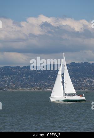 Sailboat in San Francisco bay - Stock Photo