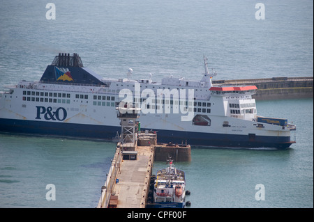 Cross channel P&O ferry Pride of Kent at the Port of Dover harbour entrance in the English Channel after arriving - Stock Photo