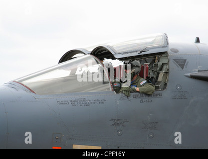 Close-up of pilots in the cockpit of a Royal Australian Air Force F-111 military aircraft - Stock Photo