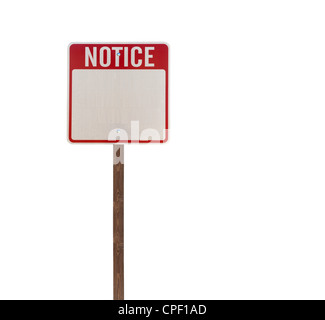 Tall isolated notice road sign on a wooden post. - Stock Photo
