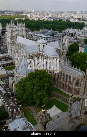 View of Westminster Abbey from Victoria Tower, Houses of Parliament, Palace of Westminster, London, England - Stock Photo