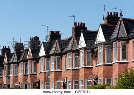 Row of terraced houses, Haringey, London, England, UK - Stock Photo