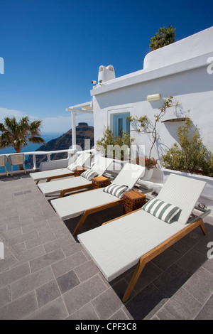 View from Millhouses studios & apartments looking out onto the Aegean Sea, Firostephani, Santorini, Fira, Cyclades, - Stock Photo