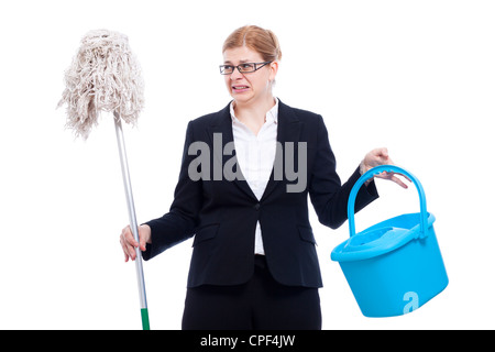 Unhappy disgusted businesswoman with bucket and mop, isolated on white background. - Stock Photo