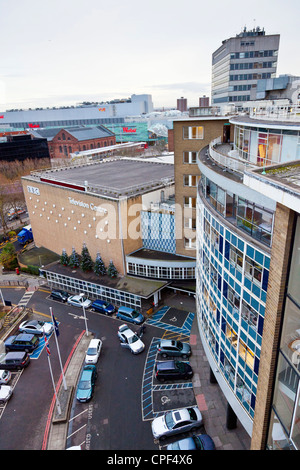 BBC Television Centre, Shepherds Bush, White City, London, looking down on studio TC1 with Westfield Shopping beyond. - Stock Photo
