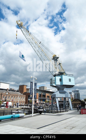 Old disused Stothert and Pitt crane at Gunwharf Quays in Portsmouth UK - Stock Photo