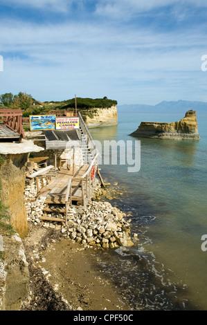 Sidari cliffs and beach, Canal d'Amour, Sadari, Corfu, Ionian Islands, Greece - Stock Photo