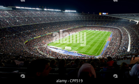 Panoramic view of Camp Nou football stadium of FC Barcelona in Barcelona, Catalonia, Spain. - Stock Photo
