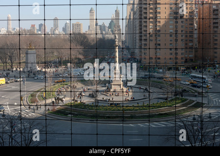 A view of Columbus Circle from inside the Time Warner Center in New York City. - Stock Photo