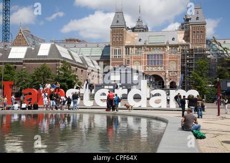 Netherlands. Amsterdam. Museumplein. The New Rijksmuseum. - Stock Photo