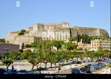 Old fort (Paleo Frourio) in Corfu town Greece - Stock Photo