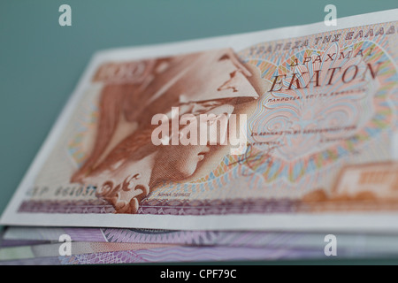 bank notes currency money cash drachma currency of greece before euros - Stock Photo