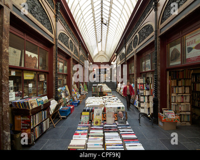 Historic arcade in Brussels with antique books shops, Belgium - Stock Photo