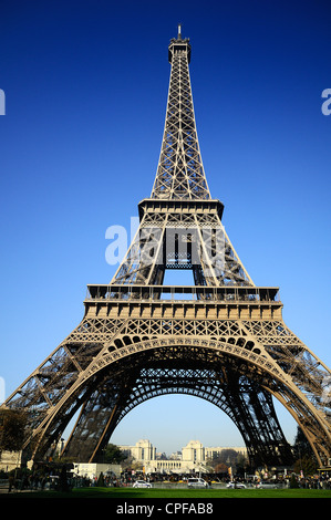 View at Eiffel Tower from the Champ de Mars (Field of Mars) - Stock Photo