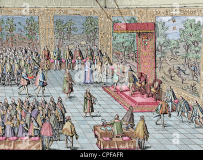 Charles I of Spain and V of Germany (1500-1558). Abdication of Charles V in Brussels, 1555, to his son Philip II - Stock Photo