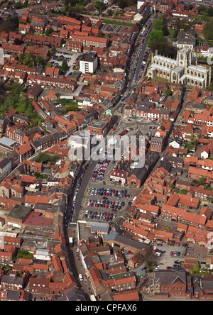 aerial view of Beverley town centre in East Yorkshire - Stock Photo