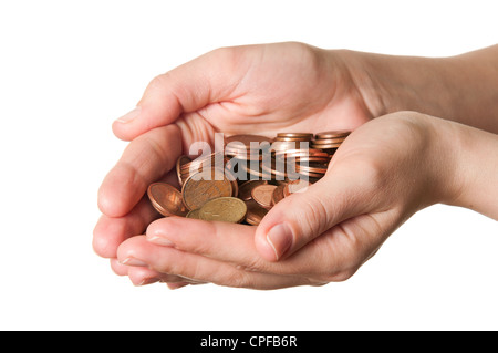 Euro coins in hands over a white background - Stock Photo