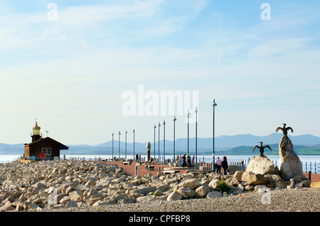 The Stone Jetty Morecambe Lancashire England UK looking across Morecambe Bay to the Lake District hills - Stock Photo