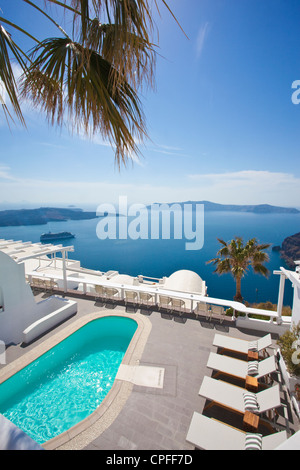 View over Millhouses studios looking out onto the Aegean Sea, Firostephani, Santorini, capital of the Island, Cyclades, - Stock Photo