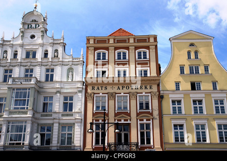 Old buildings in the Hanseatic port of Rostock Germany - Stock Photo