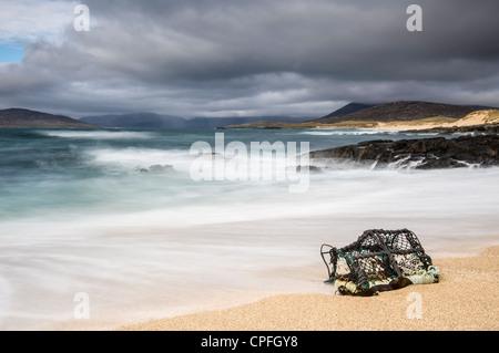 Lobster Pot washed ashore, Scarista, Isle of Harris - Stock Photo