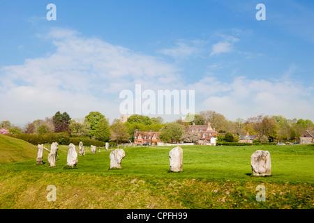 Standing stones Avebury Wiltshire England - Stock Photo