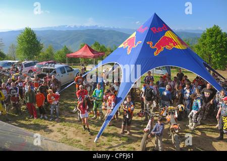 GHELARI, ROMANIA - MAY 5 2012: group of motocross riders, at briefing hard enduro race 'Enduro Panorama - AIRWAVES - Stock Photo