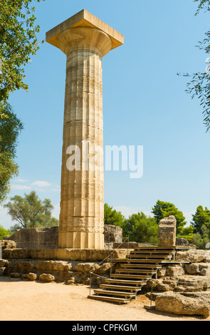 Reconstructed column of the Temple of Zeus at Olympia, site of the ancient Olympic Games, Peloponnese Peninsula, - Stock Photo