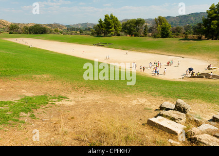 Stadium at Olympia, site of the ancient Olympic Games, Peloponnese Peninsula, Greece. - Stock Photo