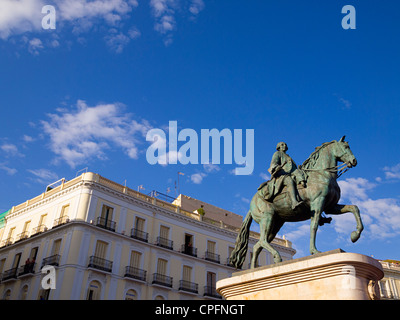 Equestrian statue of king Carlos III in Puerta del Sol square, Madrid, Spain. - Stock Photo