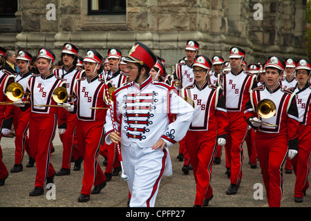 Members of an American High School marching band in Victoria, British Columbia, Canada - Stock Photo