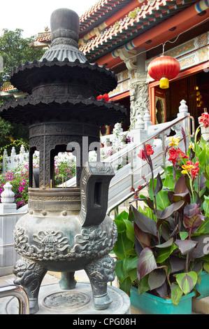 The view inside the Po Lin Monastery on Ngong Ping, Lantau Island. - Stock Photo