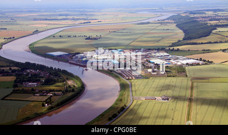 aerial view of Flixborough Wharf Steel Terminal, Lincolnshire and River Trent - Stock Photo