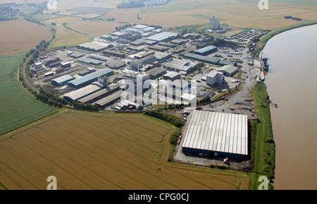 aerial view of Flixborough Wharf Steel Terminal, Lincolnshire - Stock Photo